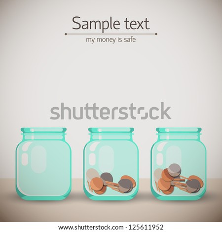 Glass jars for tips with money. Doodle backgroung. Vector Illustration, contains transparencies. - stock vector