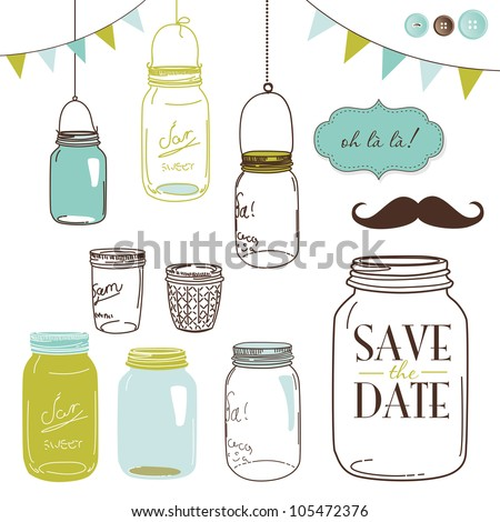 Glass Jars, frames and cute seamless backgrounds. Ideal for wedding invitations and Save the Date invitations - stock vector