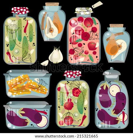 Glass jars with preserved vegetables. Vector illustration