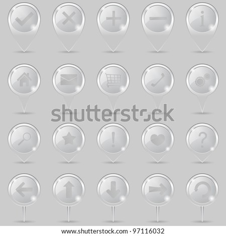 Glass map markers with icons, vector eps10 illustration - stock vector