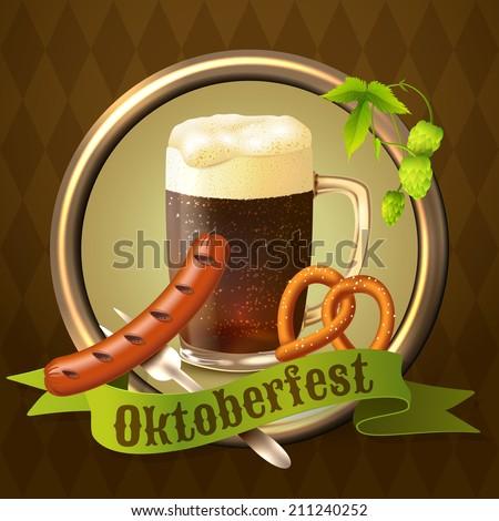 Glass mug of dark beer with sausage pretzel and hop branch Oktoberfest poster vector illustration