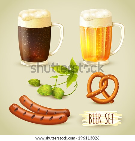 Glass mugs of lager and dark beer hop pretzel and sausage snacks decorative set vector illustration - stock vector