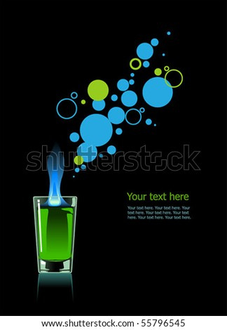 Glass of absinthe on black background. - stock vector