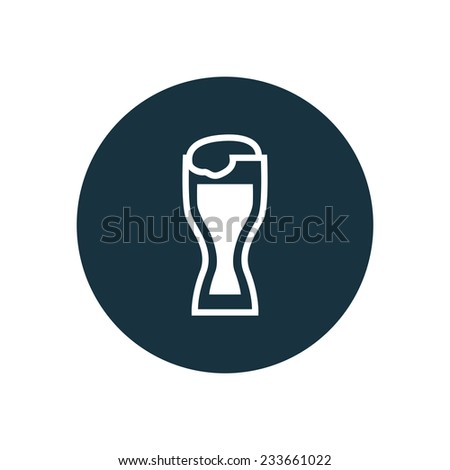 glass of beer icon on white background  - stock vector