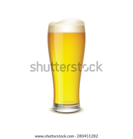 Glass of beer isolated on white background - stock vector