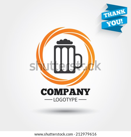 Glass of beer sign icon. Alcohol drink symbol. Business abstract circle logo. Logotype with Thank you ribbon. Vector