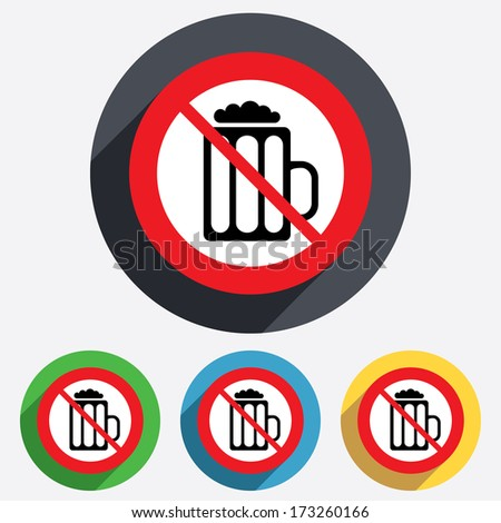 Glass of beer sign icon. Not allowed Alcohol drink symbol. Red circle prohibition sign. Stop flat symbol. Vector - stock vector