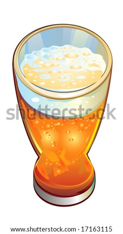 Glass of beer, vector.