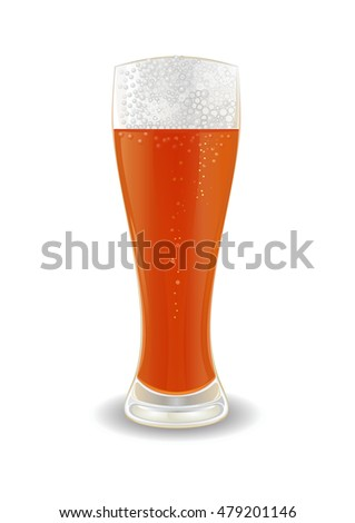 Glass of beer. Vector illustration isolated on white background