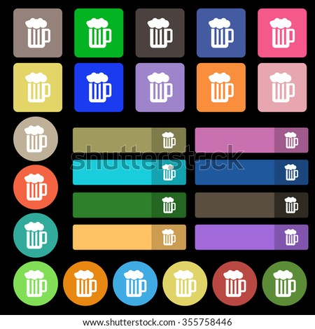 Glass of beer with foam icon sign. Set from twenty seven multicolored flat buttons. Vector illustration - stock vector