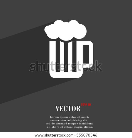 Glass of beer with foam symbol Flat modern web design with long shadow and space for your text. Vector illustration - stock vector