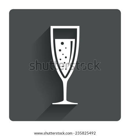 Glass of champagne sign icon. Sparkling wine with bubbles. Celebration or banquet alcohol drink symbol. Gray flat square button with shadow. Modern UI website navigation. Vector - stock vector