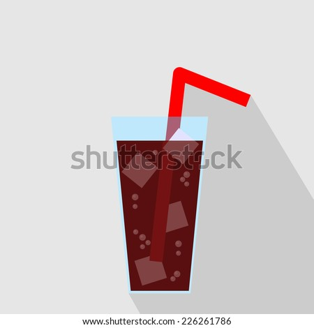 Glass of Cola Drink with Ice. Flat Icon. Vector Illustration - stock vector