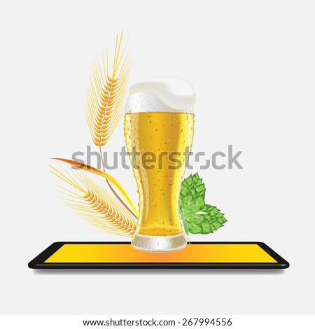 Glass of fresh beer cap of foam with barley hops on screen tablet or pc vector illustration - stock vector