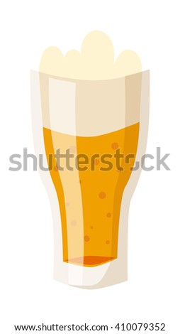 Glass of fresh beer cup with drops and white foam beverage drink lager alcohol pub symbol vector. Beer cup beverage drink and alcohol beer cup. Glass cartoon beer cup transparent foam. - stock vector