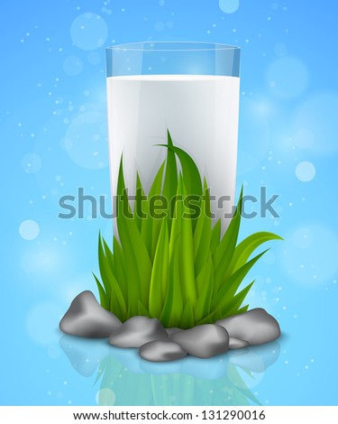 glass of fresh milk in the green grass with reflection - stock vector