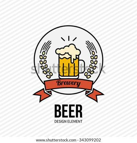 Glass of golden beer icon on white background. Vector illustration. Design element for web and mobile design, bar, cafe, restaurant. Modern minimalistic outline style label.