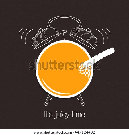 Glass of juice with hand drawn alarm clock over blackboard background. Good morning or drinks menu concept