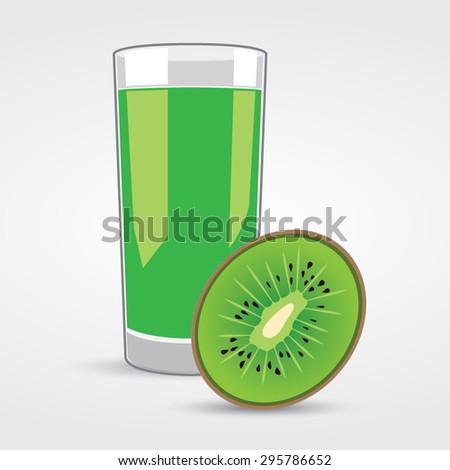 Glass of Kiwi Juice Vector - stock vector