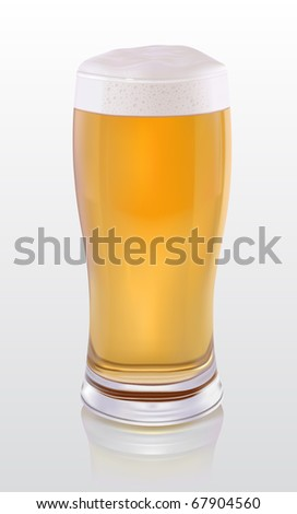Glass of light beer - stock vector