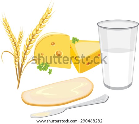 Glass of milk, a slice of white bread with butter and cheese for breakfast. Vector - stock vector