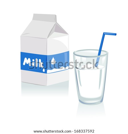 glass of milk and a carton of milk. vector illustration - stock vector