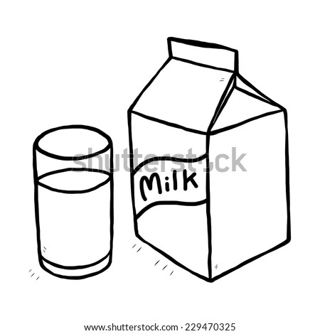 Glass of milk and milk carton cartoon vector and illustration black and white