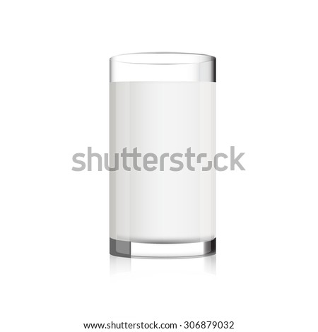 glass of milk on white background vector