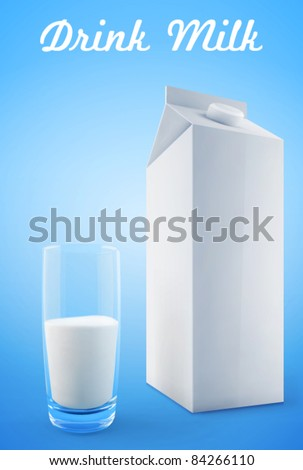 Glass of milk with a big blank milk pack. Vector - stock vector