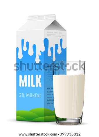 Glass of milk with gable top package close up. Cow milk carton and milk cup isolated on white background. Vector illustration for milk, food service, dairy, beverages, gastronomy, health food, etc - stock vector