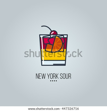 glass of new york sour cocktail vector icon