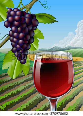 Glass of red wine and some grapes over a rural landscape. Vector illustration. - stock vector