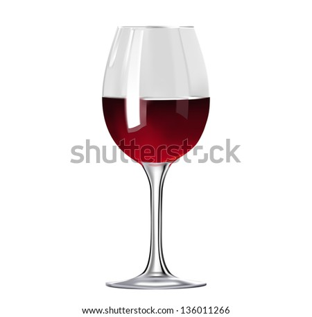 Glass of red wine isolated - stock vector