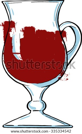 Glass of red wine or fruit juice isolated on white background. Cartoon sketch drawn by ink. Hand drawn vector illustration. - stock vector