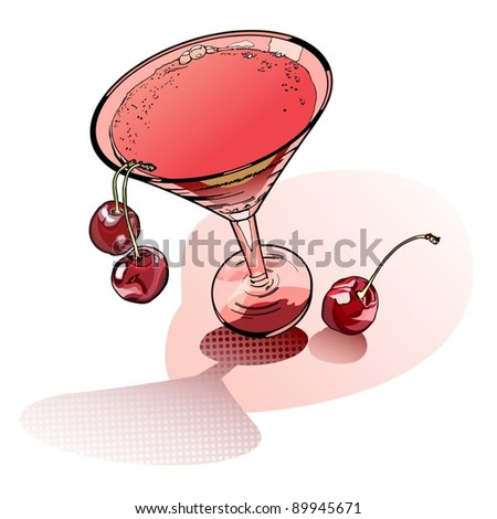 Glass of rose martini and cherry-moving alegoriya holiday party - stock vector