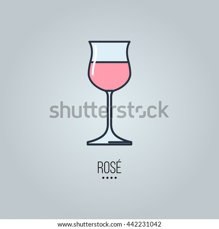 glass of rose wine icon - stock vector