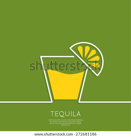 Glass of tequila with lemon. Cocktail party. Menu for restaurant, bar. Outline. minimal. - stock vector