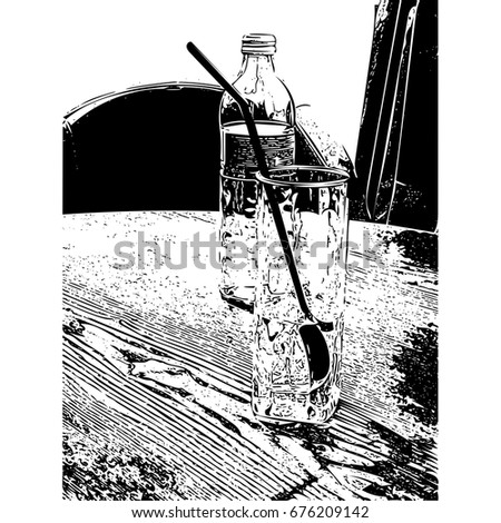 Glass of water and a bottle - illustration