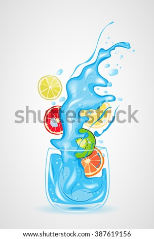glass of water, Fruit cocktail, vector illustration  - stock vector