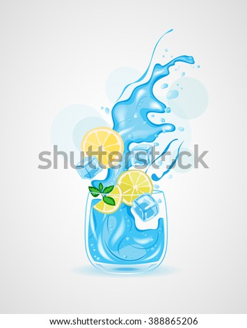 glass of water, ice water, Water with Lemon, vector illustration  - stock vector
