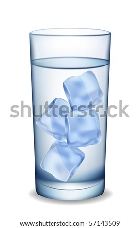 Glass of water with ice. Vector illustration. - stock vector