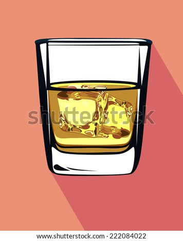 Glass of whiskey and ice - stock vector