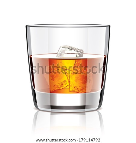Glass of whiskey isolated photo-realistic vector illustration