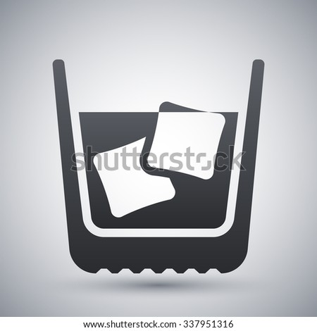 Glass of whiskey with ice. Vector icon - stock vector