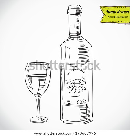 Glass of wine and a bottle, vector sketchy illustration isolated, hand - drawn - stock vector