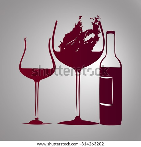 glass of wine and bottle  with splash