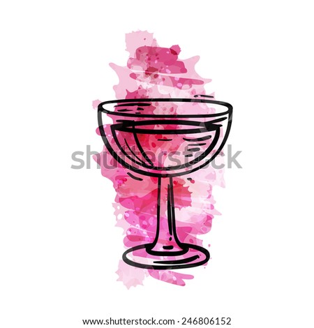 Glass of wine on a pink watercolor background. Hand drawn sketch style, isolated color vector art illustration icon. - stock vector