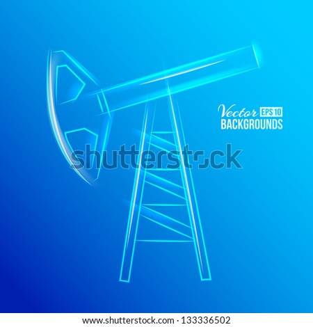 Glass oil pump. Vector illustration, contains transparencies, gradients and effects. - stock vector