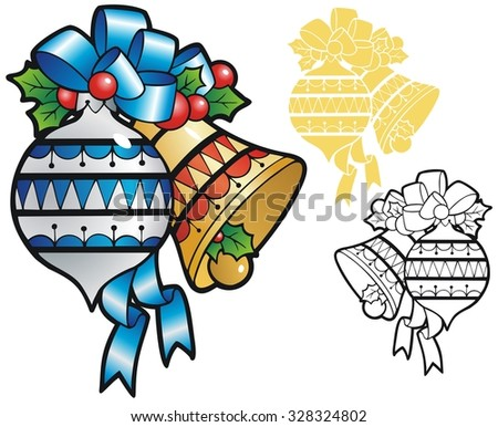 glass ornament and a bell, with bow and holly sprigs - stock vector