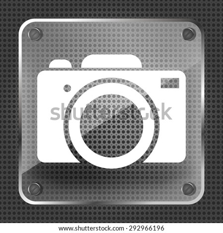 Glass photo camera icon on a metallic background - stock vector